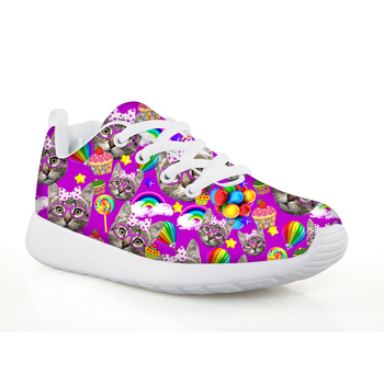 FORUDESIGNS 2018 Children's Sport Shoes Girls Cats Print Outdoor Children Sneaker Lace-up Sneakers Comfortable for Kids Shoes