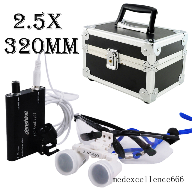 Dentist Dental Surgical Medical Binocular Loupes 2.5X 320mm Optical Glass Loupe+LED Head Light Lamp+Protective Carry Case