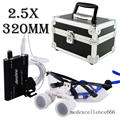 Dentista Binocular Quirúrgica Dental Medical Lupas 2.5X320mm Cristal Óptico Lupa + Jefe LED Lámpara de Luz + Protector Carry Case