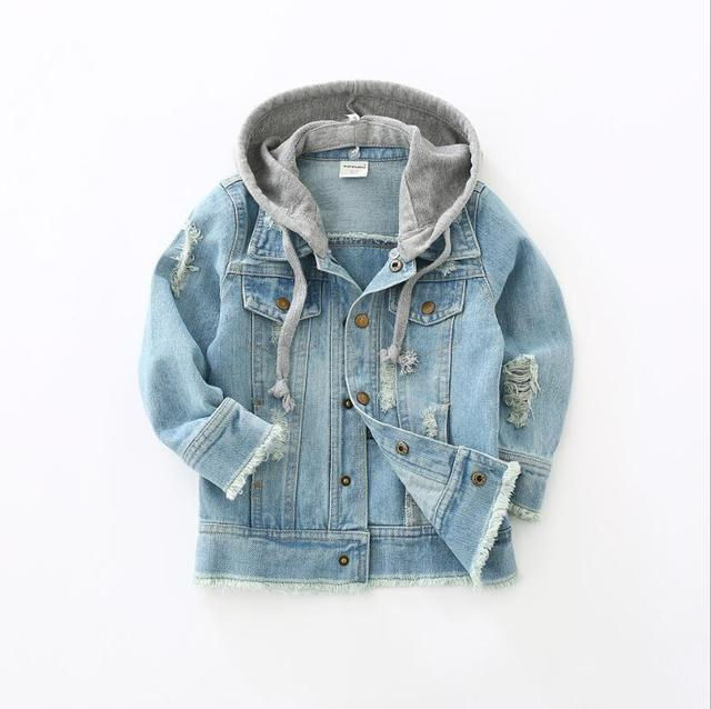 Boys Jacket kids Denim coat Children Outerwear girl clothing Spring Autumn boy hooded Jeans Clothes broken hole For 2 7T