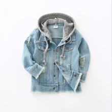 Manteau en Denim pour garçons et filles, vêtement de printemps et automne, à capuche, pour garçon, 2 7T, vêtements dextérieur pour enfants