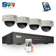 Plug and play 4CH P2P облако системы видеонаблюдения Система видеонаблюдения 2 ТБ HDD ONVIF 1080 P PoE HD камера Купольная ip-камера ИК