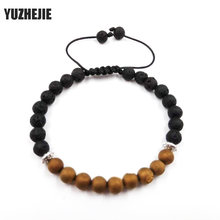 YUZHEJIE 2018 New Arrival Mens Beaded Jewelry 6mm Lava Stone Beads Tiger Eye Spar Crystal Bracelets Party Gift Yoga Jewelry(China)