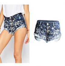 Verano Denim alta cintura Vaqueros preppy sexy Fold corto Pantalones casual  Bordado flores elástico regular Denim Mujer short Va. 46c7c1d51dfb