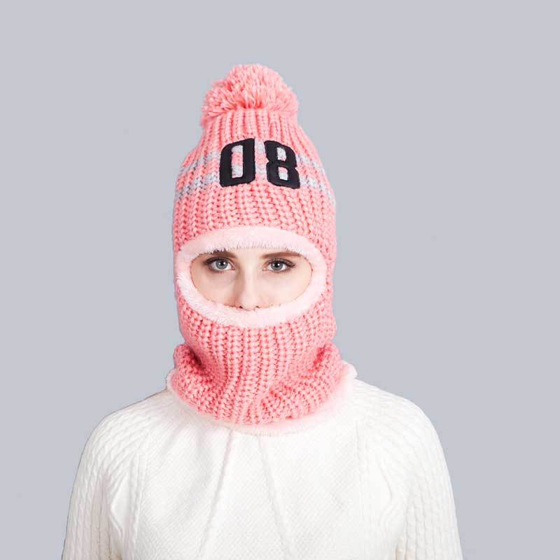 2017 New Winter Skullies Knitted Hats Beanies Caps For Women Face Masked Hat Neck Warmer Protection Pompom Headgear skullies