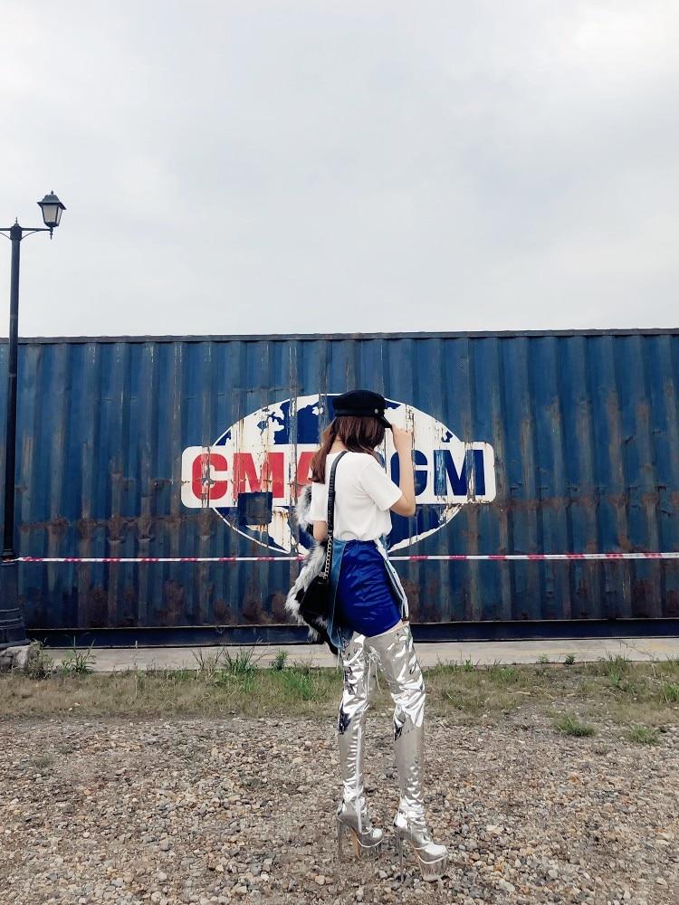 Croix Argent Brevets Attaché Cuir Retour De Bout Pour Bottes Femmes Rond Plate Haute Luxe Femme Chaussures En Show forme As Talons Cuisse Super SwSHx