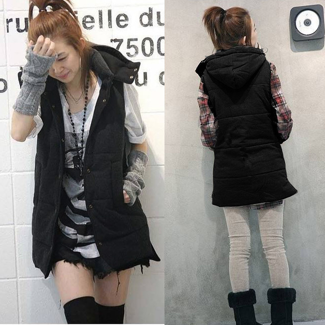 Fashion plus size for 60 90kg fat girls female autumn and winter solid color with a hood vest ...