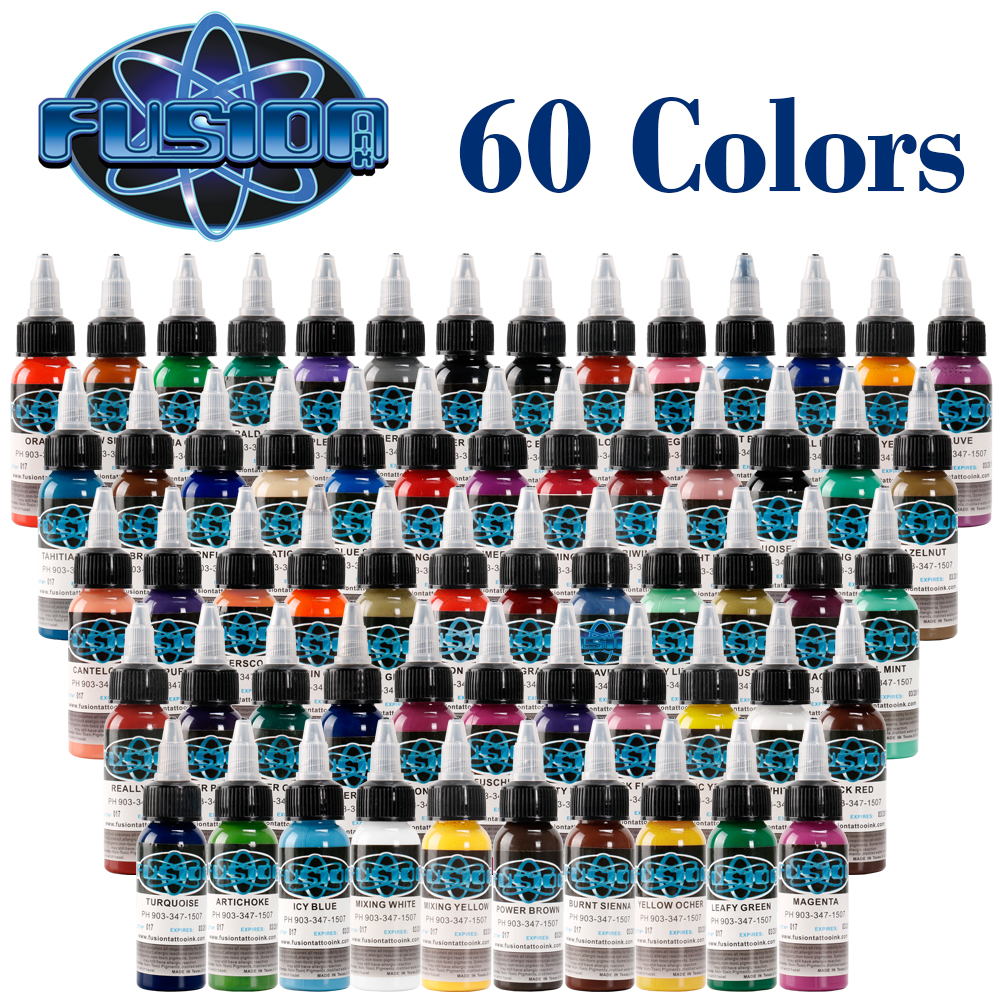 2018NEW Arrival 60pcs/ lot Fusion Tattoo Ink Set Permanent Makeup Pigments 30ml Cosmetic Micro Pigment Cosmetic Paint For Beauty