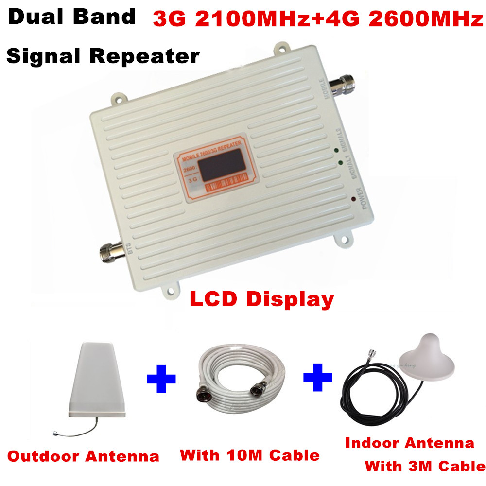 LCD gsm repeater 2100 2600 cellular signal booster Gain 70dB 3g wcdma 4g LTE 2100 2600 Dual Band mobile signal amplifierLCD gsm repeater 2100 2600 cellular signal booster Gain 70dB 3g wcdma 4g LTE 2100 2600 Dual Band mobile signal amplifier