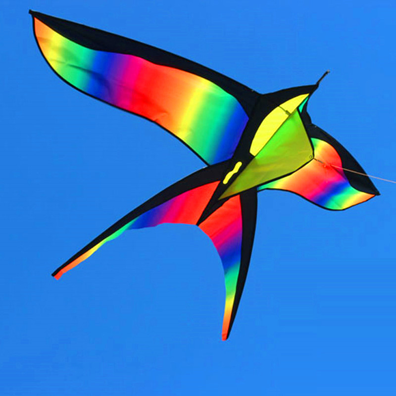 172CM Colorful Swallow Kite Beautiful Rainbow Kite Color Bird Kites Easy Control Flying With Handle Line Children Present Gift