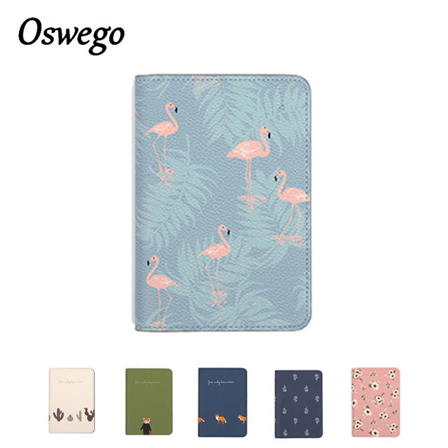 OSWEGO Cute Printing  Women Passport Holder PU Leather Card holder Travel Passport Cover