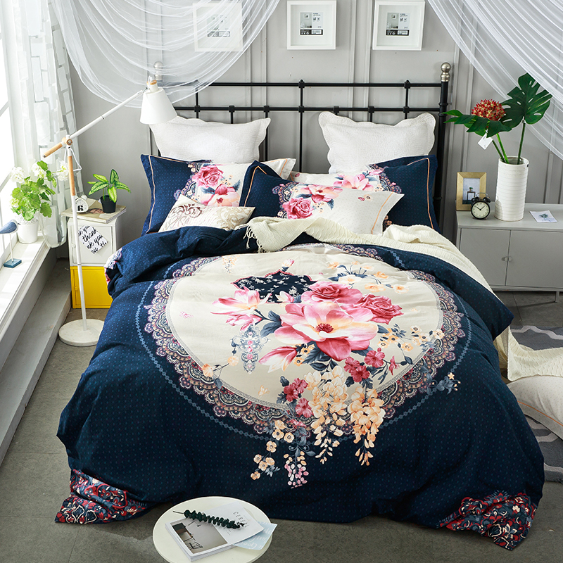 100% Sanding Cotton Warm Bed Cover set Floral Boho Luxury Bedding set Queen King size Duvet cover Bed sheet set Pillowcases