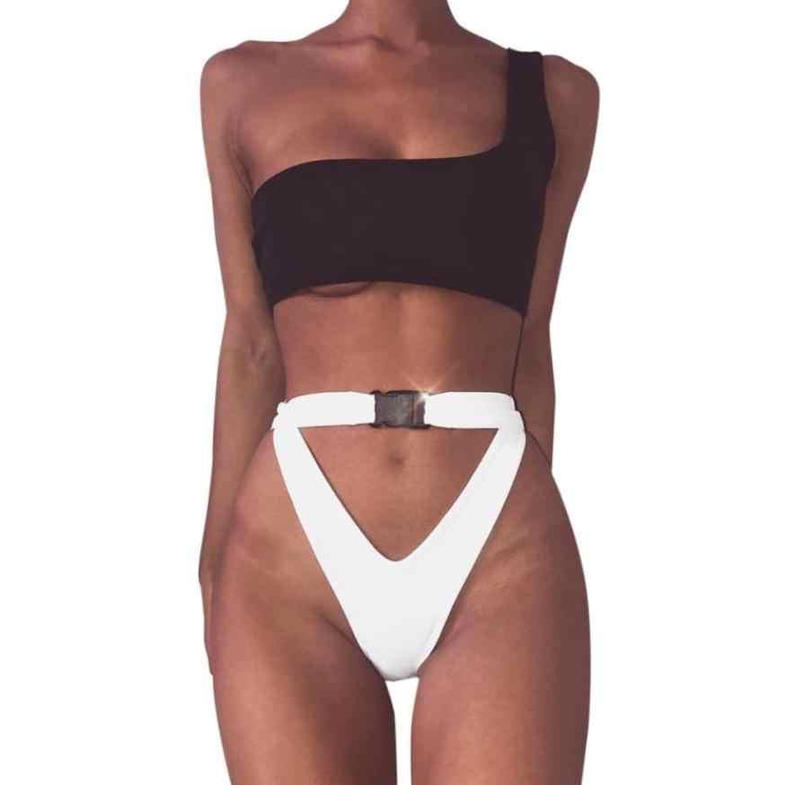 3c003d22baa 2018 High Waist Swimwear Women White Bikini Bottom With Buckle Black Hollow  out Bikini Top Push