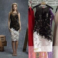 Vestidos De Novia Black & White Sleeveless Durchsichtig Spitze Cocktailkleider Knielangen Mantel Mädchen Party Kleider CPCD14