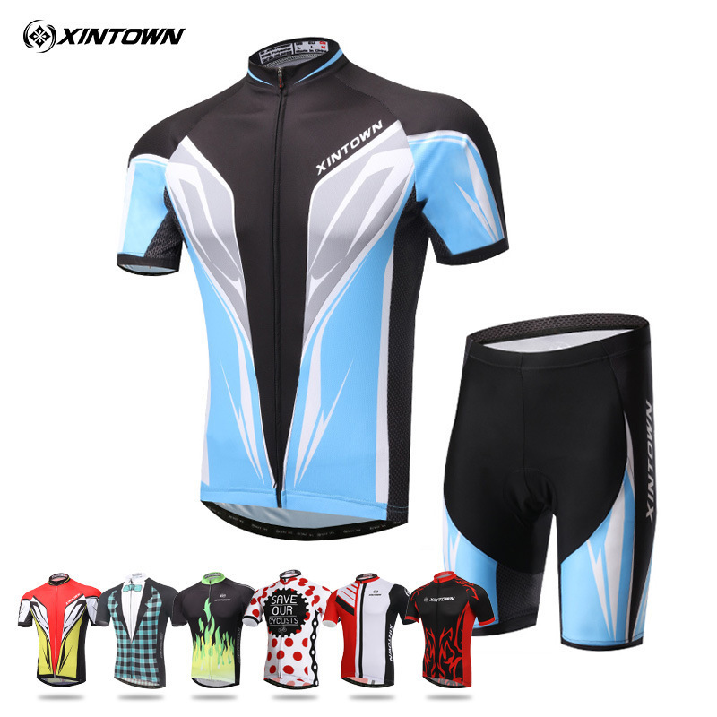 XINTOWN Summer Jersey Shorts New Men Cycling Clothing Maillot Ciclismo Bike Short Sleeve Summer Cycling Jersey Shorts Kit 2017 new summer denim jeans shorts men s casual fashion slim fit large size knee length outwear male shorts clothing men shorts