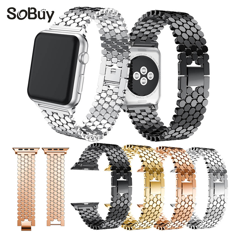 So buy Fashion Sports Stainless Steel band alloy WatchBands for iwatch series 3/2/1 Strap for Apple Watch 38mm/42mm bracelet