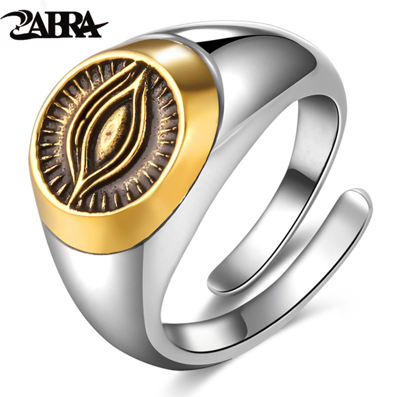 ZABRA Authentic 925 Silver Gold Color God Eye Opening Ring for Men Women Vintage Punk Male Personalized Sterling Silver Jewelry punk style pure color hollow out ring for women