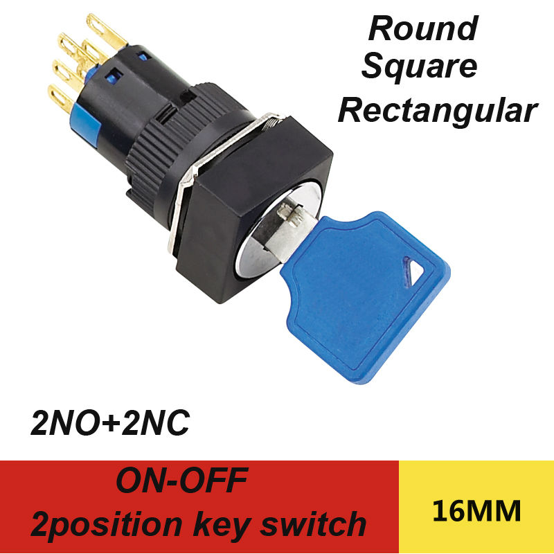 1pcs packing 2position key switch with 2NO 2NC 6pins electrical key switch integrated type 5A 250V