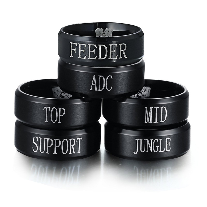 Jewelry & Accessories Efficient Game Anime Peripheral Ring For Men And Women Black Stainless Steel Lol Ring Team Ring,top Jungle Adc Mid Support Engraved