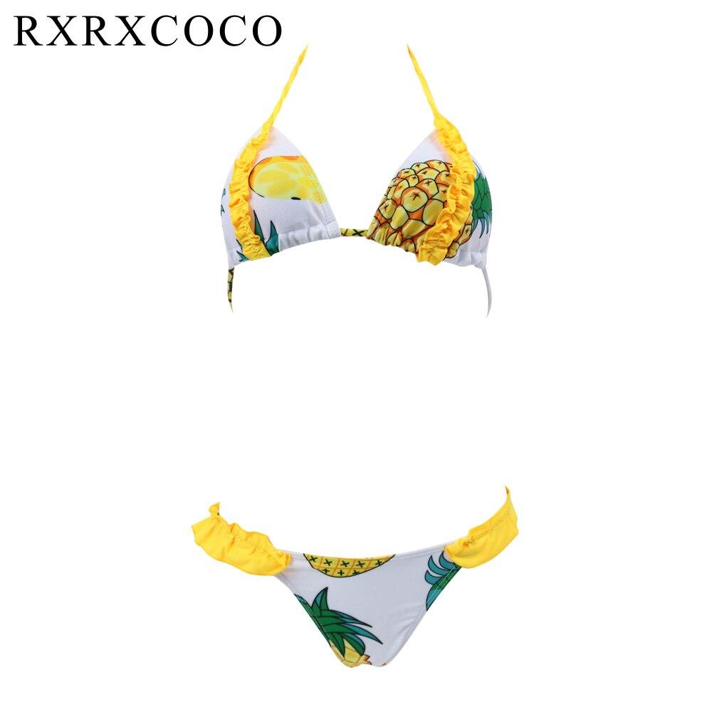 RXRXCOCO 2017 Hot Sale Women Bikini Set Swimsuit Brazilian Biquni Bandage Swimwear Printed Low Waist Sexy Beach Bathing Suit rxrxcoco brand bikini set high neck padded swimwear women sexy bikini bandage swimsuit female low waist swimming suit beach wear