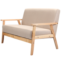 Wooden Low Seat Armchairs Two Seater Sofa Fabric Upholstery Seat Back Living Room Furniture Sofa Leisure