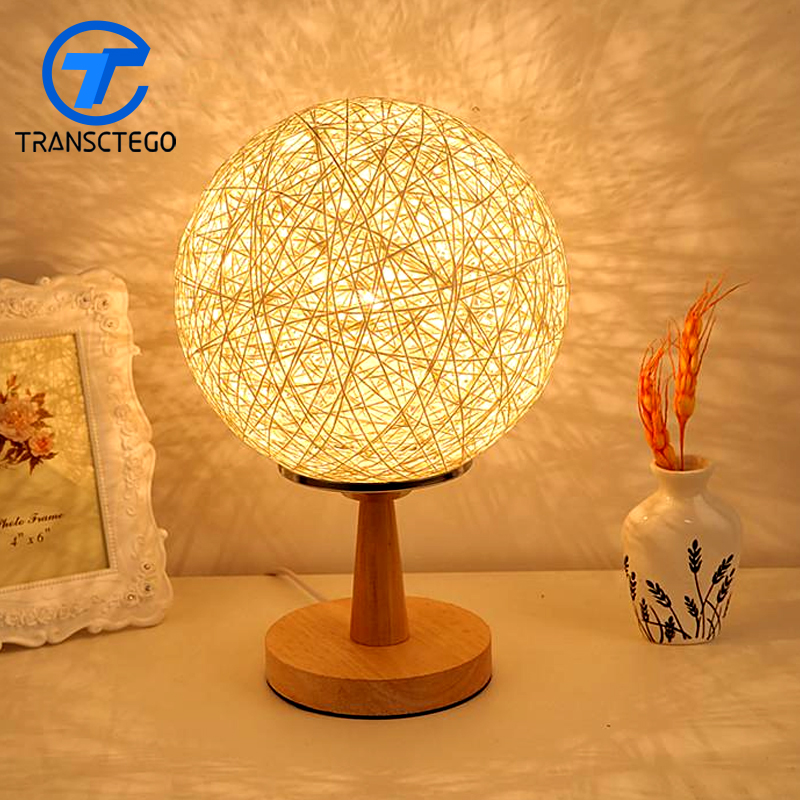 Desk lamp bedroom bedside night light table features creative fashion modern decorative lamp cane twine novelty luminaria de mes novelty night light baymax big hero 3w luminaria white green red color lava lamp for children bedroom decorate luminaria de mesa
