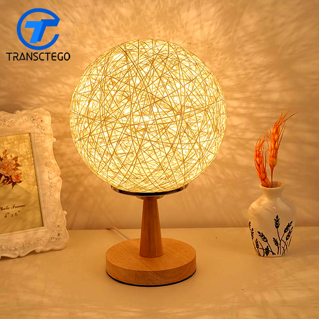 Desk Lamp Bedroom Bedside Night Light Table Features Creative Fashion Modern Decorative Lamp Cane Twine Novelty