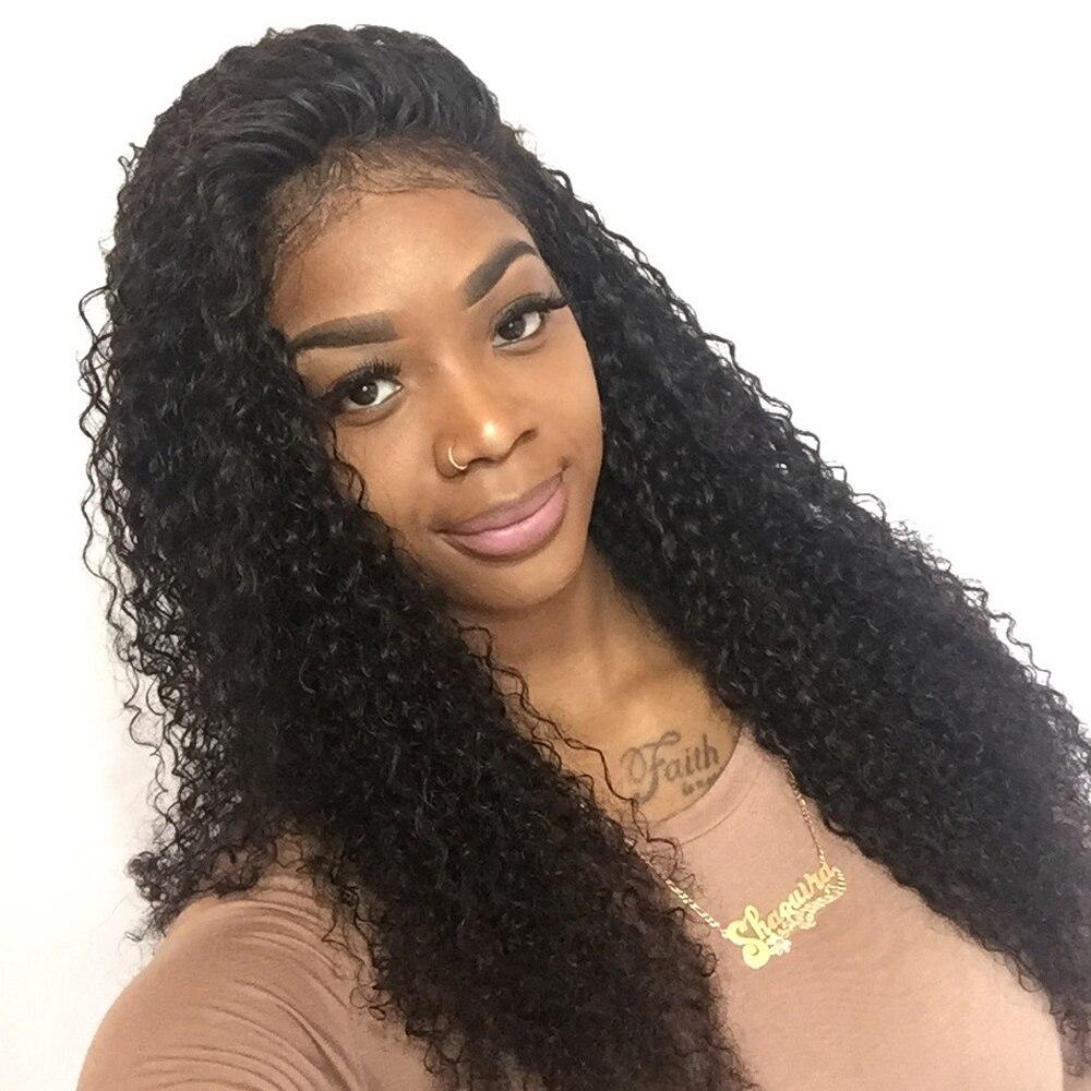 densidad del frente del cordn rizado pelucas de pelo humano para las mujeres negras