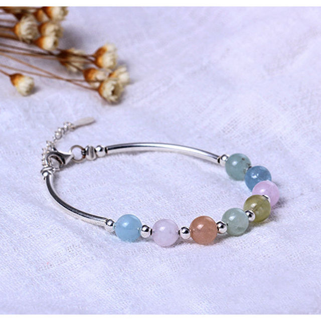 925 Sterling Silver Sweet Bracelet Cute Candy Color Quality Natural Morgan Stone Gift