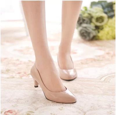 women manmade leather heels girls ladies pumps shoes beige red black SFPUMPS001