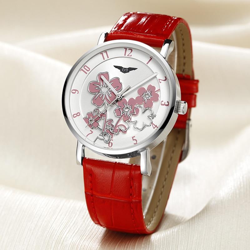 ФОТО Watches Women New Fashion GUANQIN Luxury Flower Design Quartz Clock Ladies Red Leather Wristwatches For Male relogio feminino