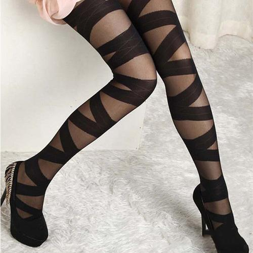 Women's Sexy Pantyhose Black Cross Babdage Ultra-Thin Slim Stretch Tights