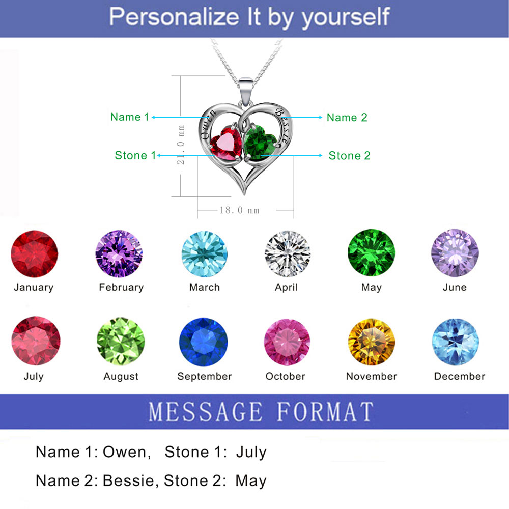 925 Sterling Silver Birthstones Engraved Necklaces Pendants  02