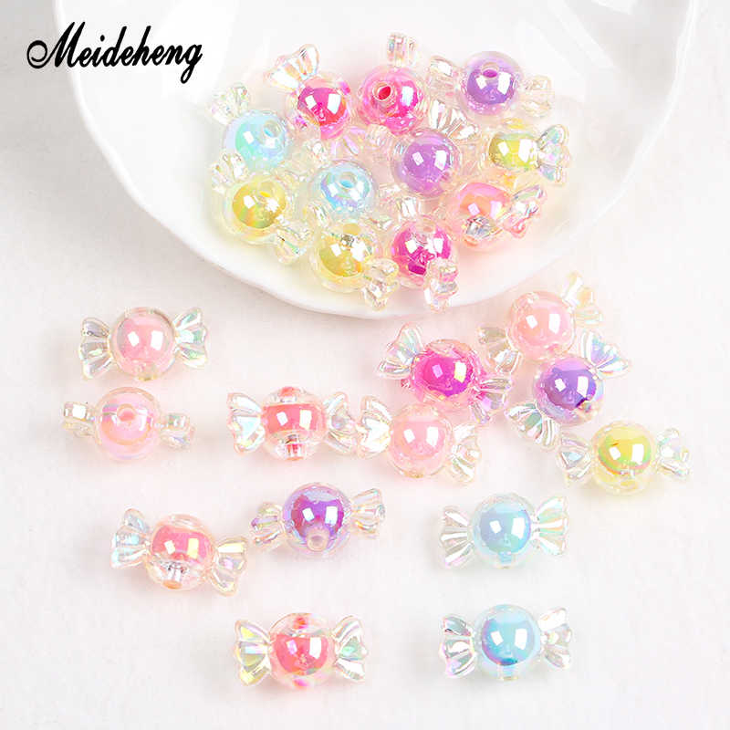 25pcs/bag Acrylic Lovely Candy Beads Rainbow AB Spring Color Bead with Beads  For Jewelry Making Needlework DIY Necklace Crafts
