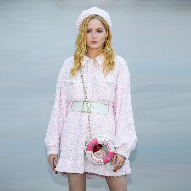 Taille Manteau De Longueur Fourrure Rose Veste F0712 Moyen Type Laine Longues À Manches Nouveau Femmes qtnRFS7W5A
