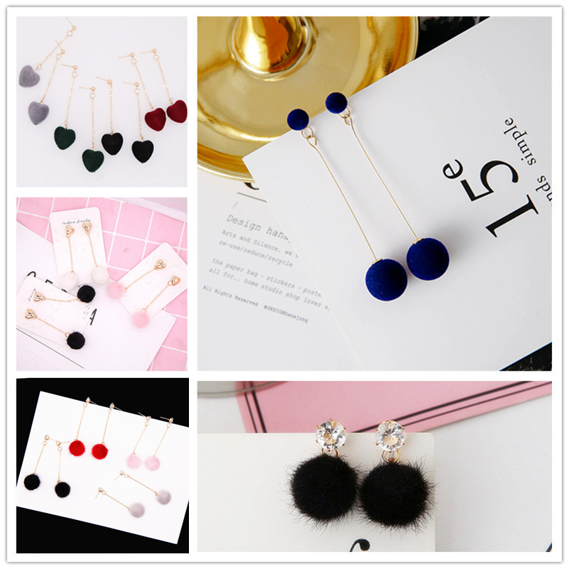 Women Fashion Unique Soft Fur Ball Cotton PomPom Long Earrings For Women Fashion Jewelry Ear Drop Earring New Year Gift 2018 A33