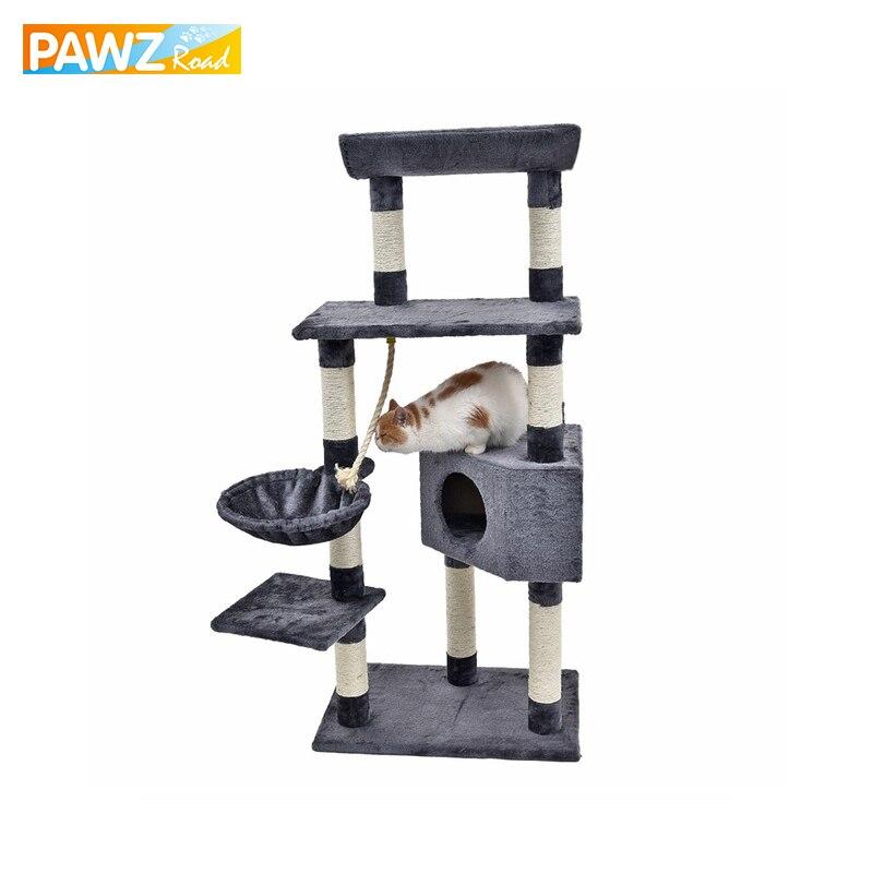 H139cm gato juguetes divertido gato escalada árbol multicapa con hamaca gato casa muebles rascador poste de madera maciza alto calidad-in Muebles y raspadores from Hogar y Mascotas    1