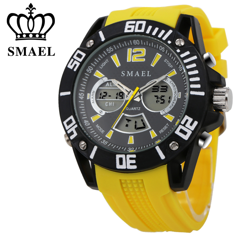 ФОТО  Big Watches for Men Alloy Dial Silicone Strap Casual Sport Watch Wuartz LED Digital Men's Wrist watch relogios masculino WS1035