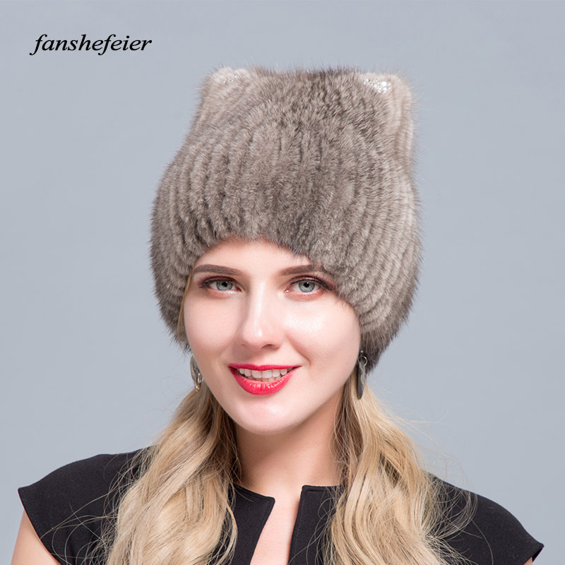Fanshefeier High Quality   beanies   Women Cat Ear Warm Knit   Beanies   Real Mink Fur Hat Female Fashion Fox Fur Winter Hats For