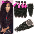 Brazilian Virgin Hair With Closure Rosa Hair Products Deep Wave 4 Bundles With Closure Brazilian Curly Virgin Hair With Closure