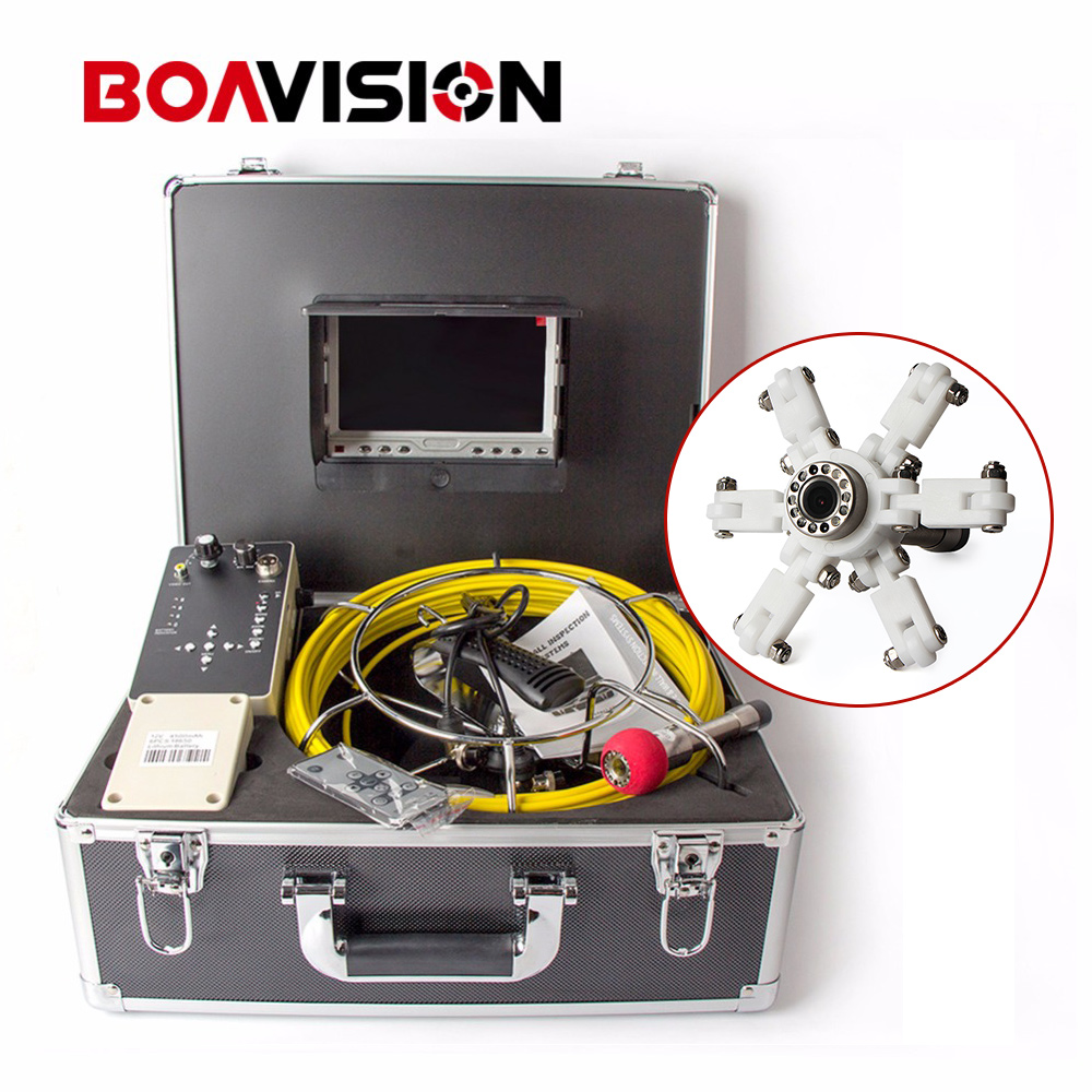 Color 1000TVL 30m Cable 7'' TFT LCD Drain Inspection Camera With DVR Borescope Pipe Sewer Camera Portable Aluminum Case 7 tft sewer pipe inspection snake video camera 600tvl 12 led 30m osd regulation stainless steel lens pipeline drain w2022