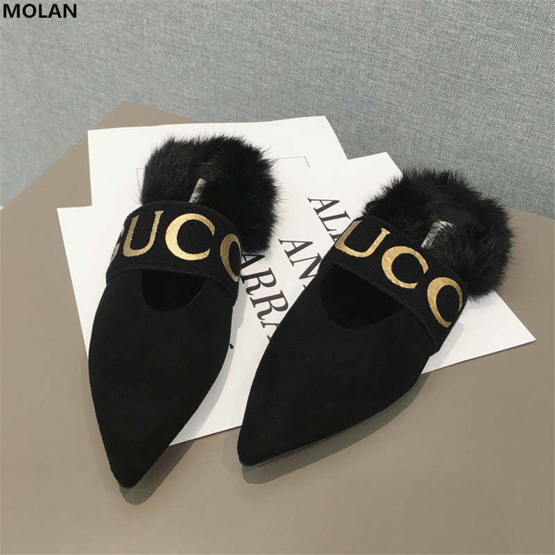 MOLAN Brand Designers 2018 New Fashion Soft Rabbit Hair Sexy V Mouth Fur Slides Pointed Shoes Slip On Loafers Mules Flip Flops miulamiula brand designers 2018 fashion rabbit hair woman flat slides lady shoes furry slippers slip on loafers mules flip flops