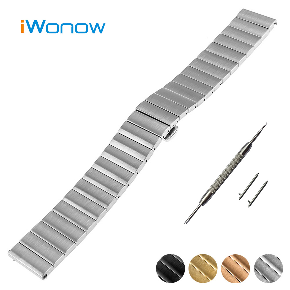 Stainless Steel Watch Band 18mm for Asus Zenwatch 2 Women WI502Q Quick Release Strap Butterfly Buckle