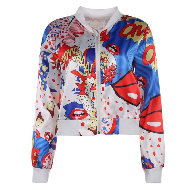 Lips Printing Women   Basic     Jacket   Long Sleeve Zipper Bomber   Jacket   Casual Outwear Coat Spring Autumn Spring Punk Biker Streetwear