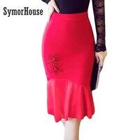 7429487856831 S-5XL 2017 Women Pencil Skirt Fashion OL Slim Bodycon Business Wear Chiffon patchwork  Style