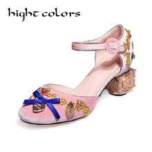 2018 spring summer luxury gem velvet sandals embroider high heel women  shoes pumps metal buckle heel mary jane shoes custom size 1b2eb521a9af