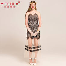 YIGELILA 6965 Latest New Sexy V-neck Backless Sleeveless Hollow Out Lace Mesh Women Long Dress