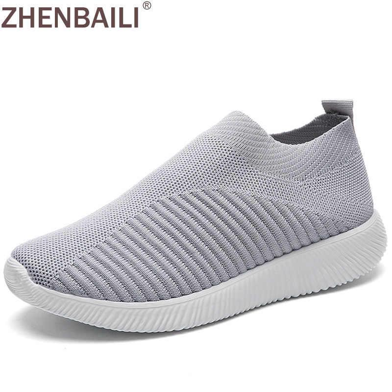 ZHENBAILI artı boyutu açık nefes örgü örgü kadınlar üzerinde kayma çorap ayakkabı 2019 yaz ayakkabı düz hafif yürüyüş eğitmenleri