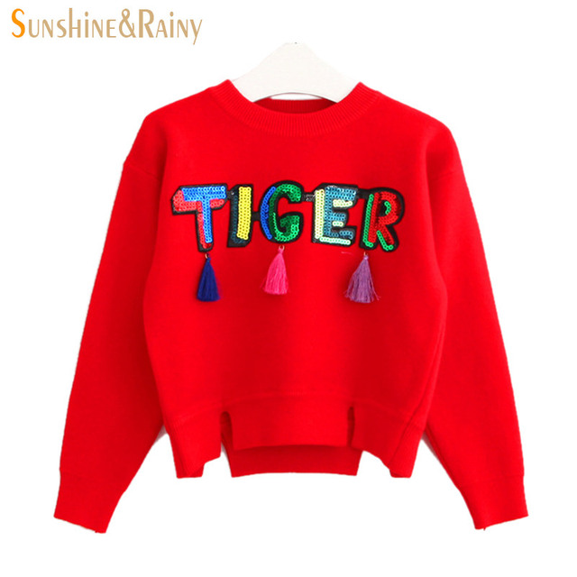 Autumn/Winter Brand Kids Knitwear Girls Sweaters Fashion Tassel Sweater For Girls Sequins Letter Pullover Baby Girl Cardigans