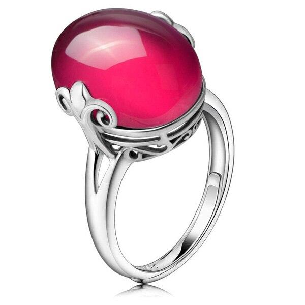 PIXNOR Vintage femmes 925 argent Sterling synthétique rouge corindon réglable anneau de doigt